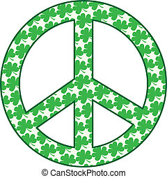 Shamrock Peace Sign - A peace sign filled with green...