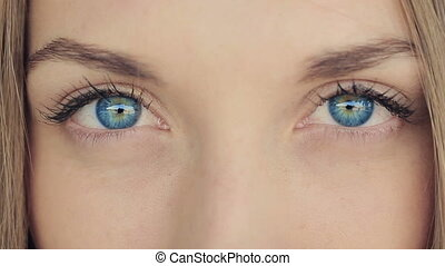 Woman With Deep Blue Eyes - Woman with blue eyes looks...