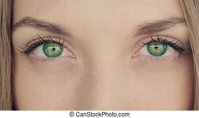 Woman With Deep Green Eyes - Woman with blue eyes looks...