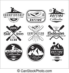 Kayak and canoe emblems, badges, design elements - Kayak and...