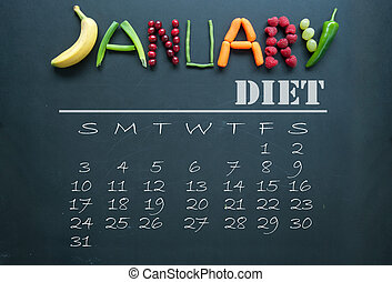 January diet calendar - January letters made from fruits and...