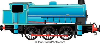 Industrial Steam Locomotive - A Blue Industrial Steam...