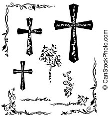 Set of engraving cross with floral pattern