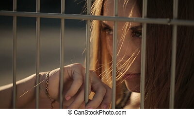 Beautiful Woman Behind Bars - Beautiful woman- model behind...