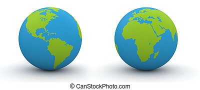 7000 px two hemispheres of a globe - highres 3d isolated...