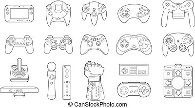 Video Game Controllers Icon Set - Set of vector...