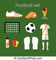 Soccer icons set Football isolated design elements in flat...