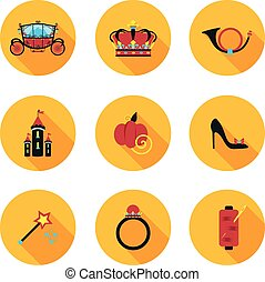 flat icons Cinderella - best flat icons Cinderella in vector...