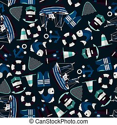 dark seamless pattern of industrial fishing
