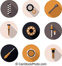 best flat icons fasteners in vector format eps10