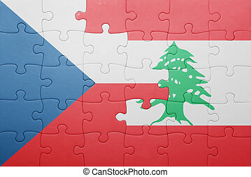 puzzle with the national flag of czech republic and lebanon