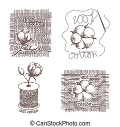 Hand drawn cotton certificates, labels