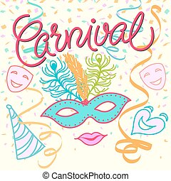 Carnival Festive background with hats, masks, ribbons and...