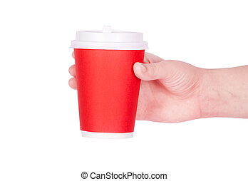 Disposable cup of coffee in hand - Disposable red cup of...