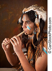 Indian playing the flute