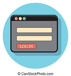 log in circle icon with shadow.eps