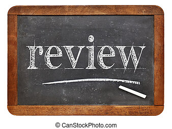 review word on blackboard - review word in white chalk on a...