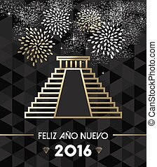 New Year 2016 mexico chichen itza travel gold - Happy New...