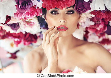Closeup portrait of a flower nymph - Closeup portrait of the...