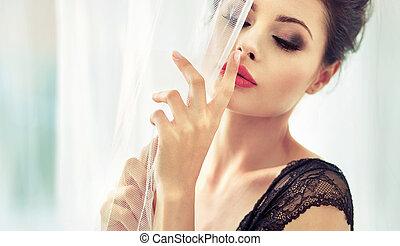 Pretty brunette lady wearing lace underwear - Pretty...