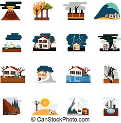 Natural Disaster Flat Icons Set - World worst natural...
