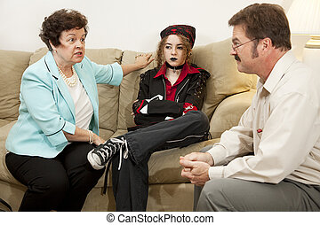 Family Counseling - She Drives Me Crazy - Mother and teen...