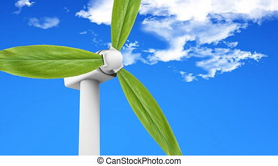 Natural Energy - Wind turbine with leaves producing energy....