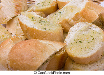 Garlic bread - Basket of Garlic bread close up background...