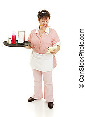Waitress Shift Begins - A waitress starting her shift,...