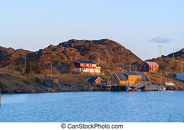 Fishermen houses on the banks of the Norwegian island Skrova