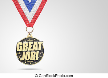 Golden medal Great Job on gray