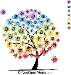 Yoga tree with chakras, sketch foy your design Vector...