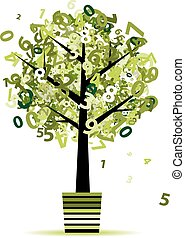 Green tree with numbers leaf in pot for your design