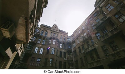 Old buildings, typical courtyard of the Stalin era