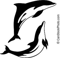 Dolphin - Abstract vector illustration of dolphin