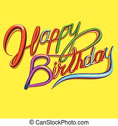 Happy Birthday Text Greeting Card - Happy Birthday vector...