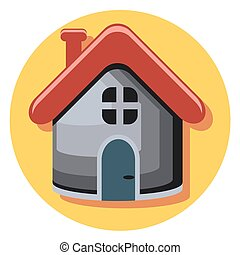 house icon in circle with shadow.eps