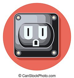 plug-in icon in circle with shadow.eps