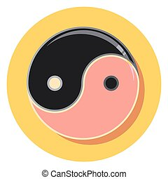 jing jang sing circle icon with shadoweps - jing jang sing...