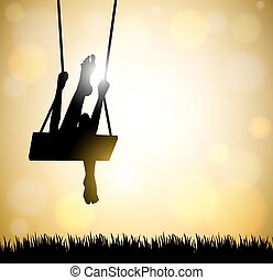 woman on a swing - silhouette of happy young woman on a...