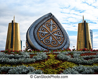 sculpture in Astana - sculpture and buildings in Astana, the...