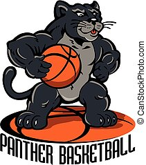 panther basketball team design with cartoon mascot for...