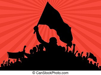 picket - background with silhouette of protesters with flags...
