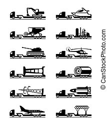 Trucks with over-sized loads - vector illustration