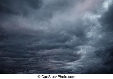 Oscuridad, nubes, dramático, cielo