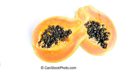 Papaya fruit isolated on a white background