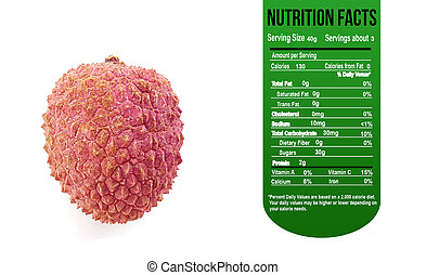 Lychee with Nutrition facts label