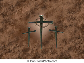 Three Crosses - Crosses created by old spikes on grunge...