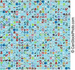 Sea funny cartoonish pattern - Childish tile-able seamless...