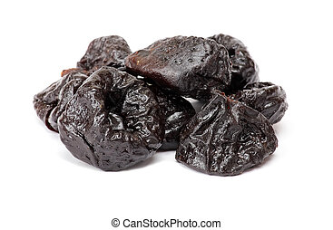 Dried plum - prunes, isolated on a white background. Black...